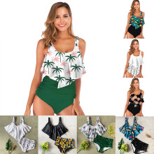 2019 New Sexy Women Bikini Set Ruffle Floral Printed Swimsuit Push Up High Waist Bikini Biquinis Brazilian Swimwear Summer W34(China)