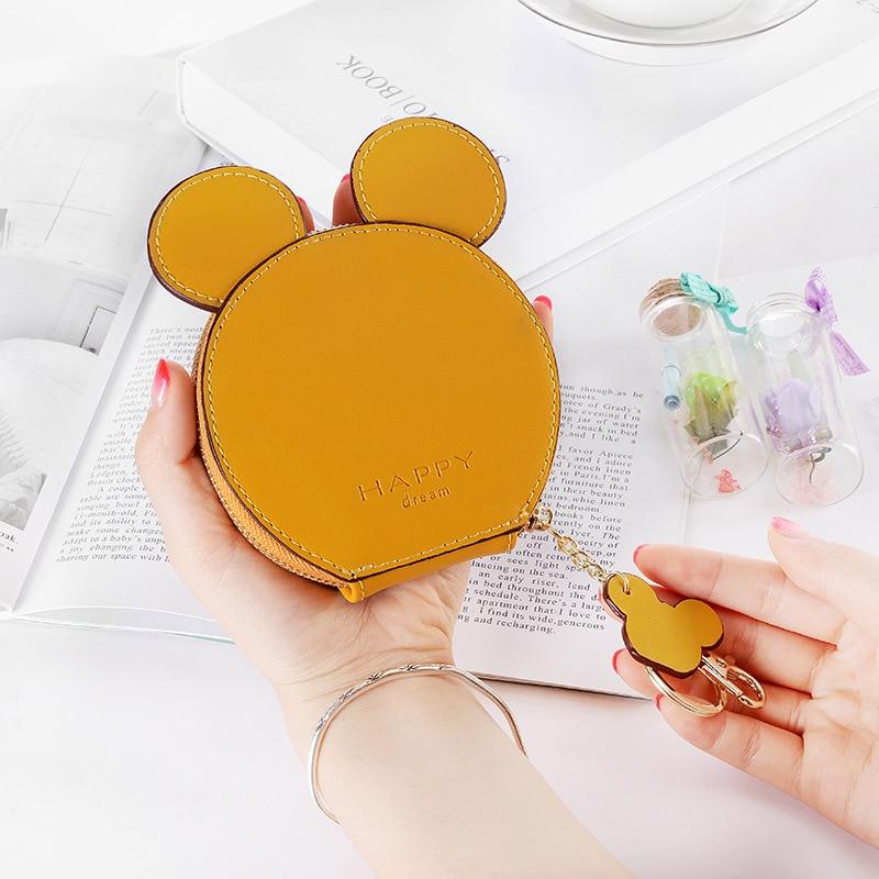 New Cute Mickey Keychain Ladies Girl Zipper Wallet Coin Purse Cartoon Minnie Keychain Car Keychain Charm Gift