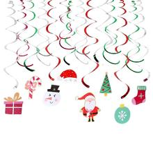 Christmas Hanging Foil Swirl Snowman Tree Decoration Santa Claus Xmas Crafts Decor Gift