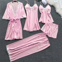 2020 Women Satin Sleepwear 5 Pieces Pyjamas Sexy Lace Pajamas Sleep Lou