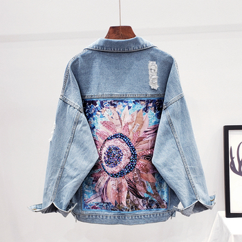 Boho Denim, chaqueta de las mujeres, deshilachados agujeros lentejuelas apliques florales bordado chaqueta abrigo suelto de manga larga prendas de vestir exteriores femenina