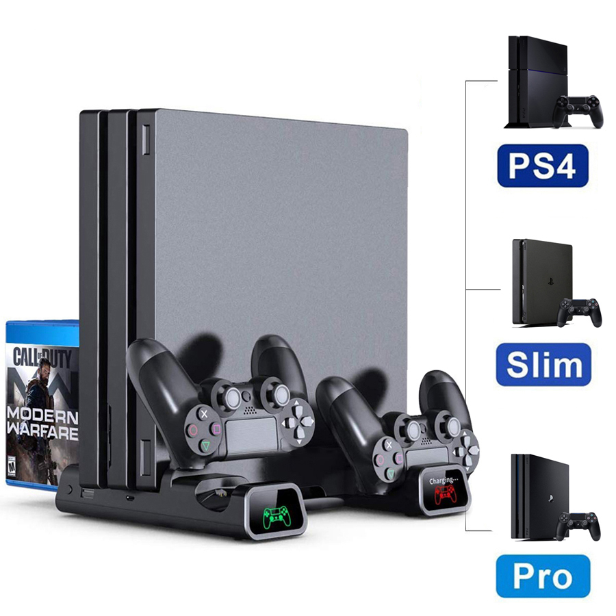 PS4/ PS4 Pro/ PS4 Slim Console Vertical Cooling Stand Controller Charging Base Cooler 10 Games Storage for Sony
