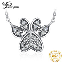 JewelryPalace Dog Paw CZ Sterling Silver Pendant Necklace 925 Chain Choker Statement Collar Women 45cm