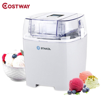 COSTWAY 1.6 Quart Automatic Ice Cream Maker Freezer Dessert Machine Macarons Color Soft Ice Cream Machine EP23818US