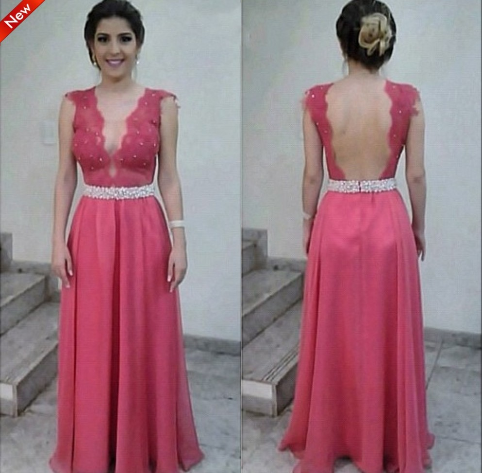 Cheap Chiffon Sexy See Through V-neck Exquisite Backless Prom Gown 2018 Lace Crystal Belt Custom Made A-line Bridesmaid Dresses