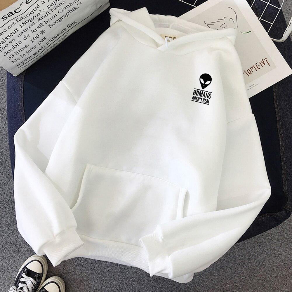 Moletom Winter Autumn Pullovers Alien Print Solid Hoodies Women Men Loose Long Sleeve Plus Size Hooded Sweatshirts Cute Harajuku