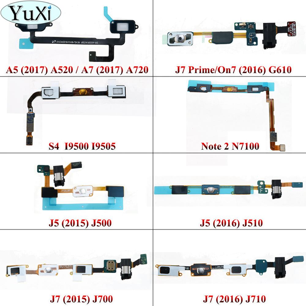 YuXi For Samsung Galaxy J5 J500 J7 J710 2015 2016 J7 Prime/ On7 S4 I9500 Note 2 N7100 A5 A7 Home Button Earphone Jack Flex Cable