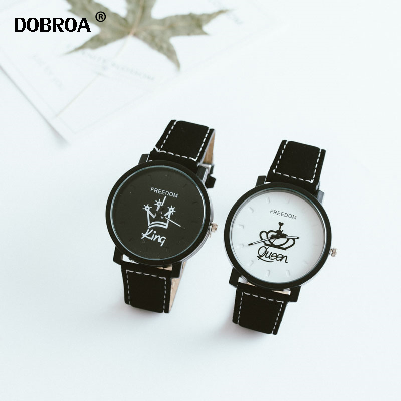 Best Selling Unique King And Queen Text Couple Watch Men And Women Popular Pair Watches For Couples Montre Personnaliser