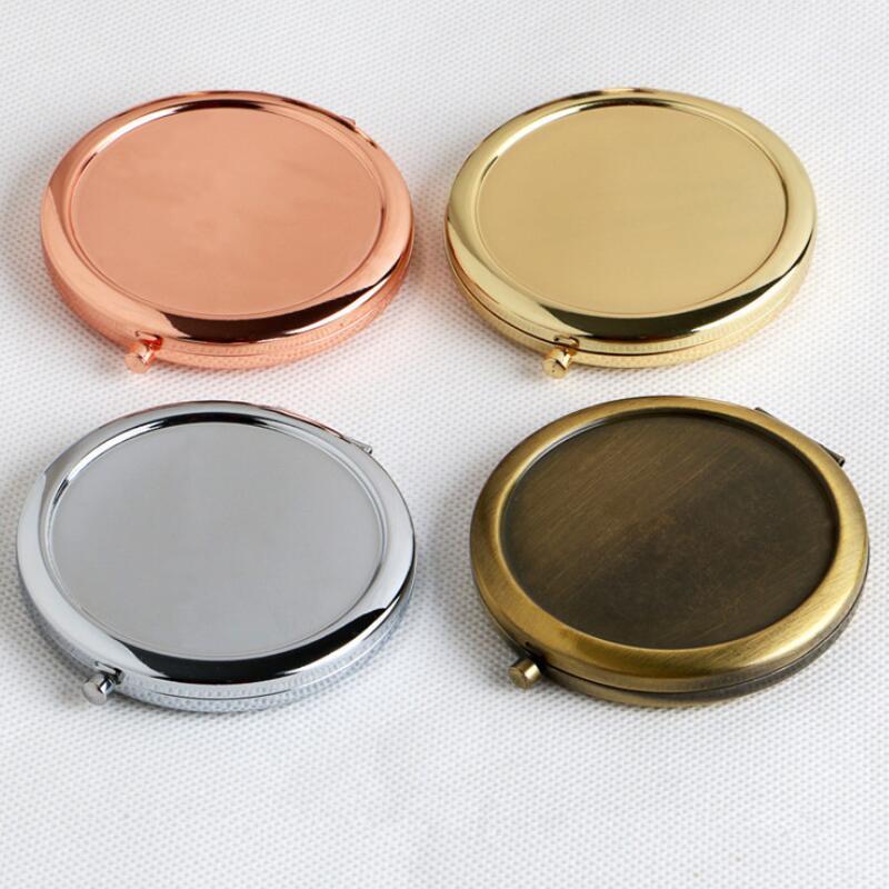 Круглое зеркало, компактное, простое, розовое золото, цвет «сделай сам», увеличительное, подарок с наклейкой, LX4353