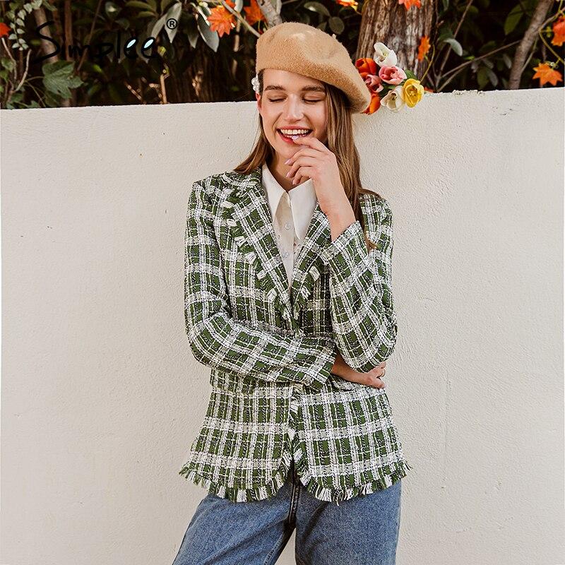 Simplee elegant women green plaid jacket coat Long sleeve casual autumn winter outwear female coat Streetwear ladies coat 2020