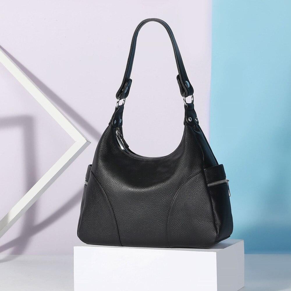 100% Genuine Leather Fashion Women Shoulder Bags High Quality Hobos Elegant Lady Tote Handbag Black Grey Crossbody Bags
