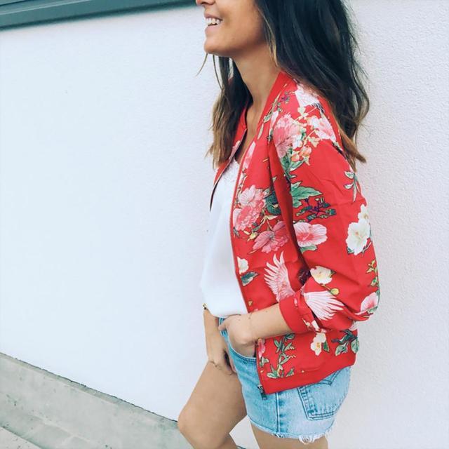 Fashion Flower Leaves Print Jacket Long Sleeved Zipper Coat  5