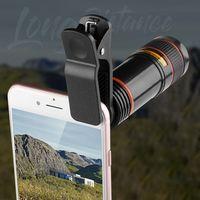 Clipe universal 12x lente do telefone móvel clipe zoom óptico telescópio lente hd smartphone para iphone x xs max xr 8 para samsung s8 s9|Lentes para celular| |  -