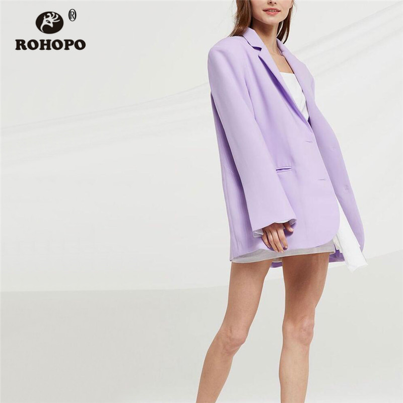 ROHOPO Light Purple Double Buttons Blazer Notched Collar Solid Slim Ladies Welt Pockets Carsigan Slim Outwear #7288