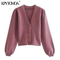 KPYTOMOA donna 2020 moda bottone coperto maglione Cardigan corto lavorato a maglia manica lanterna Vintage capispalla femminile top Chic