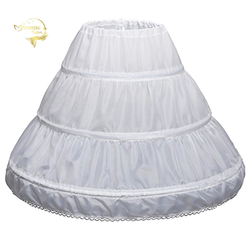 3 Three Hoops Kids Crinoline A Line Lace Trim White Children Petticoat For Flower Girl Dress Underskirt Elastic Waist Full Slip