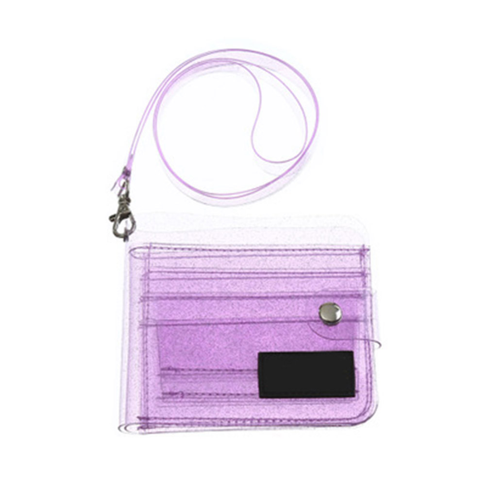 Women Clear Card Bag Portable Jelly Wallet Stadium Airport Approved Purse With Button Closure Strap  New
