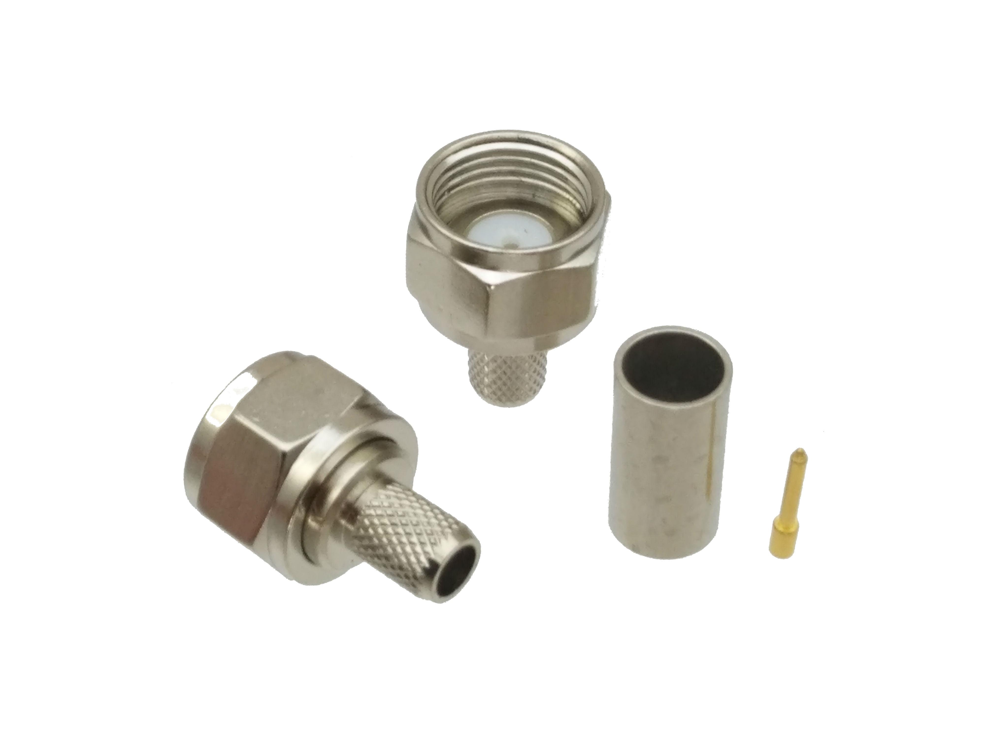 F TV Male Plug Straight Crimp RG58 LMR195 RG142 RG400 Cable RF Connector