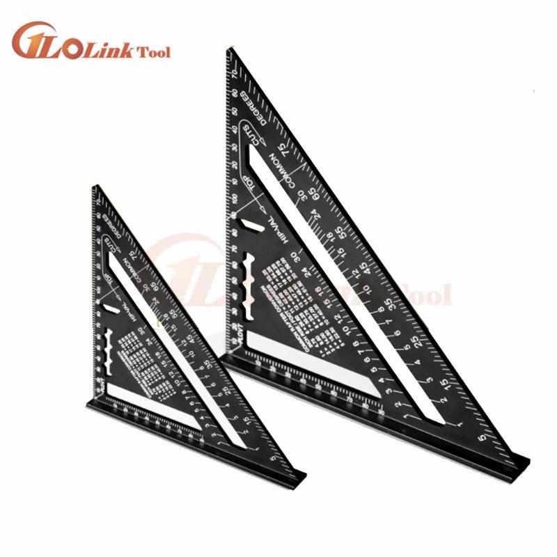 Regla angular de 7/12 pulgadas, regla métrica de medición Triangular de aleación de aluminio, velocidad de trabajo en madera, transportador de ángulo cuadrado de medición