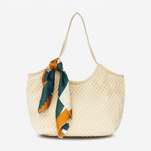 Vento Marea Beach Women Bag Fashion 2019 New Canvas Tote Summer Large Capacity Ribbons Shoulder Purses Travel Shopping Handbag