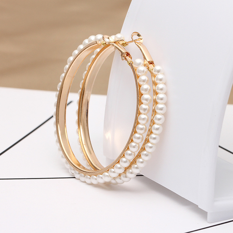 Europe and the United States 2019 new hot sale geometric exaggerated pearl big circle pendant women's earrings fashion jewelry 2