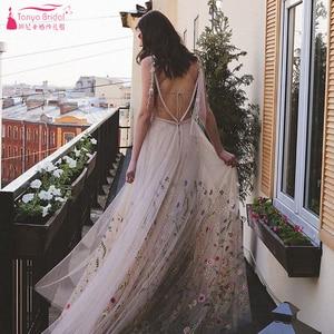 Image 4 - Meticlously Borduren Trouwjurken Dromerige Bohemian Bruidsjurken Ruglooze Vestido De Noivas Chic Abiti Da Sposa ZW205