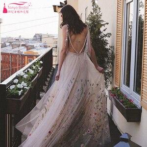 Image 4 - Meticlously nakış gelinlik rüya gibi Bohemian gelinlikler Backless Vestido De Noivas şık Abiti da Sposa ZW205