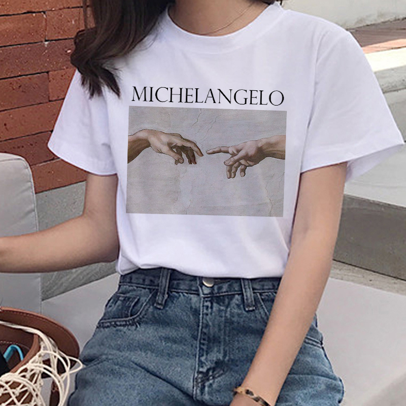 European Summer New Ins Style Two-hand Printing Casual Street Personality Round Neck Short Sleeve T-shirt Cute Girlfriends
