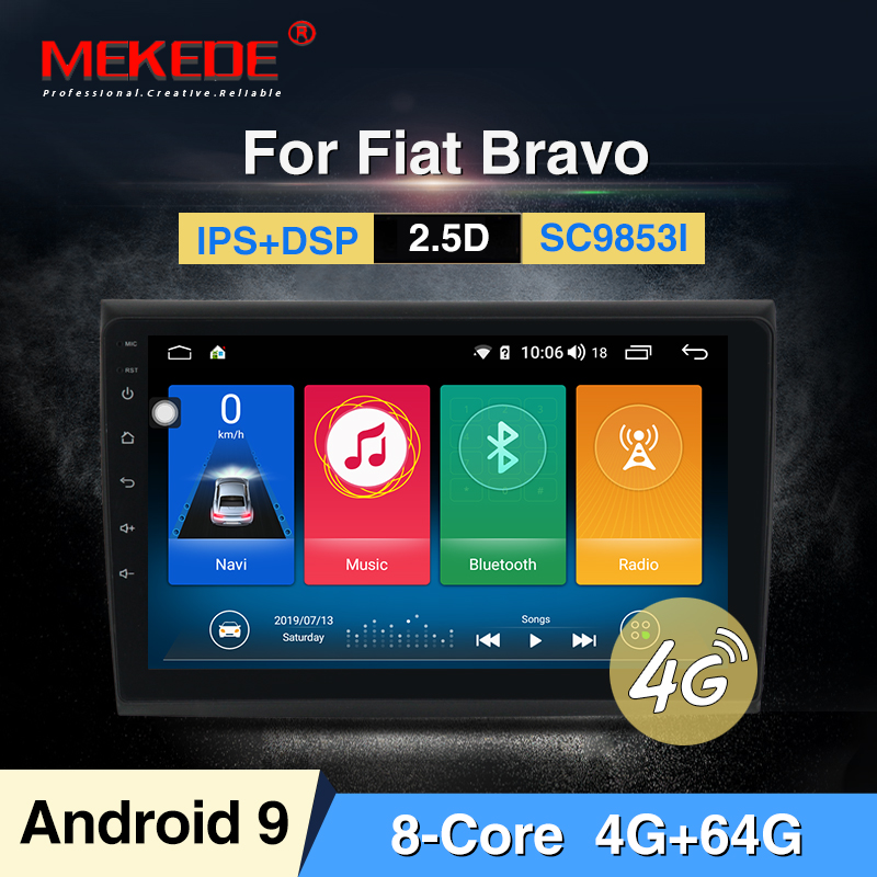 MEKEDE Android 9.0 4G+64G 8 CORE 2 Din Android 9.0 Car Dvd Multimedia Player GPS Audio For Fiat Bravo 2007-2012 Obd2 Dvr DSP Ips