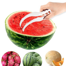 Watermelon Knife with Non-slip Handle Stainless Steel Melon Fruit Cutting Clip Slicer Cutter Fast Shredders Kitchen Tools