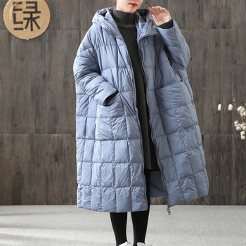 пуховик женский reebok down long jacket цвет бежевый dh1299 размер m 48 пуховик женский 2020 Women'S Duck Down Down Jacket Winter Women'S Plus Size Loose Long Coat Winter Jacket Stitching Hooded Parka