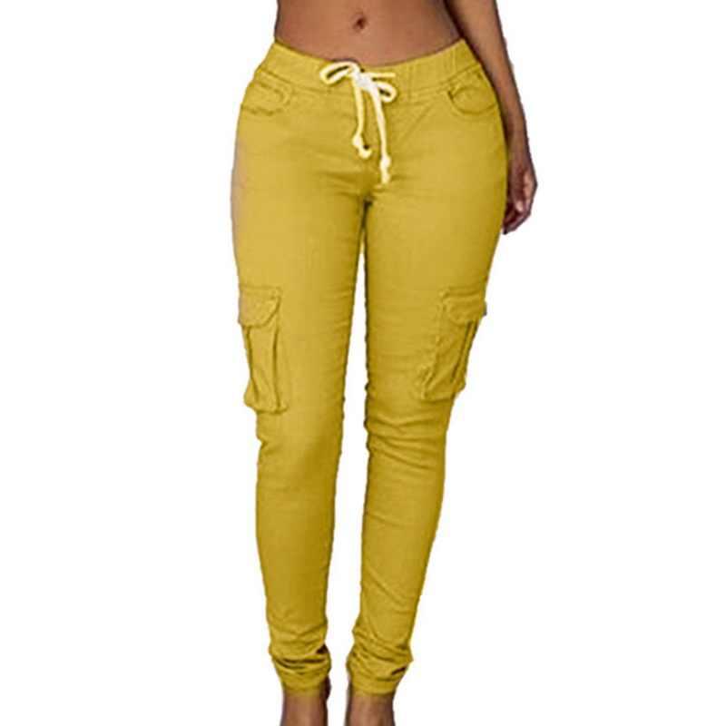 CALOFE Fashion Casual Cargo Broek Voor Vrouwen Lace Up Effen Kleur Mid Taille Tie Potlood Broek Met Zakken Joggers Joggingbroek