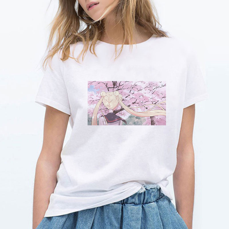 Sailor Moon Summer T Shirt Women Harajuku Short Sleeve Fun Ulzzang T-Shirt Cute Cherry Blossoms Tshirt Cartoon Top Tees Female