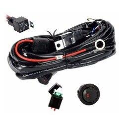 Uniwersalny 12V 40A światło przeciwmgielne samochodu zestaw okablowania krosna do pracy HID listwa świetlna z bezpiecznikiem i łącznik przekaźnikowy