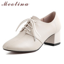 Meotina High Heels Women Pumps Natural Genuine Leather Thick High Heel Derby Shoes Real Leather Round Toe Shoes Lady Size 34-39 ladies real genuine leather high heel shoes women brand sexy pointed toe heels fashion pumps lady heeled shoes size 34 39 r08358 page 3