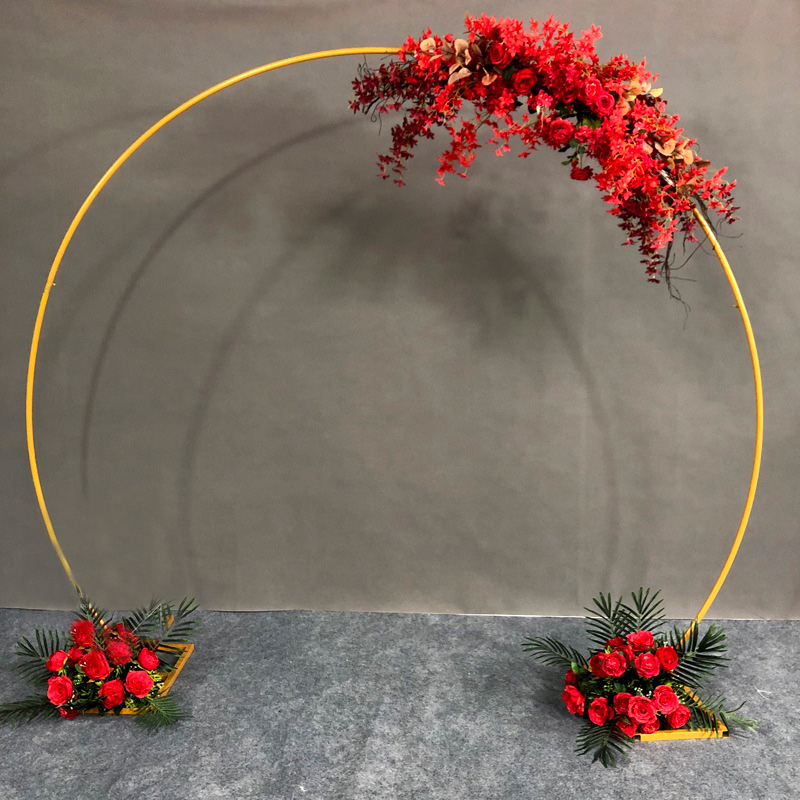 Iron Circle Wedding Arch Props Background Outdoor Lawn Single Arch Flower Wedding Flower Door Rack Party Birthday Decoration in Wedding Arches from Home Garden