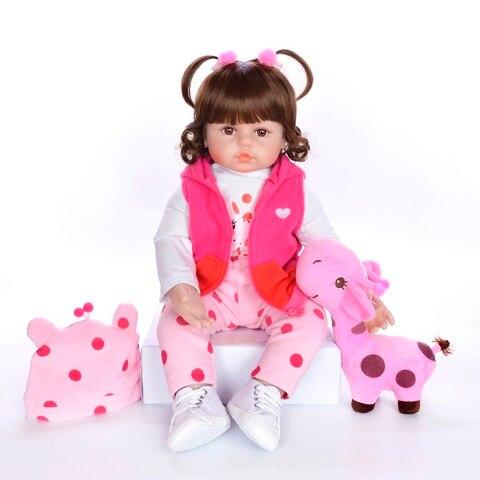 48cm Bebe Silicone Reborn Baby Doll Toys Like Real Vinyl Princess Toddler Babies Dolls Girls Giraffe doll gift boneca reborn Karachi
