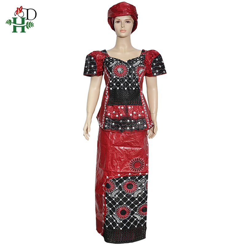 H&D African Dashiki Skirt Suit For Women Bazin Riche Embroidery Top Skirt Set Ankara Beading Clothes Nigerian Ladies Turban 2020