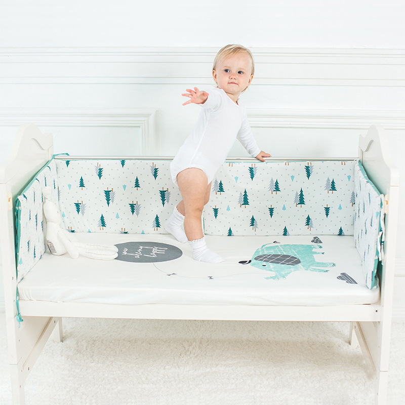 Baby Nursery Nordic Design Baby Bed Thicken Bumper 1pcs Crib Around Cushion Cot Protector 4 Colors Newborns Room Decor