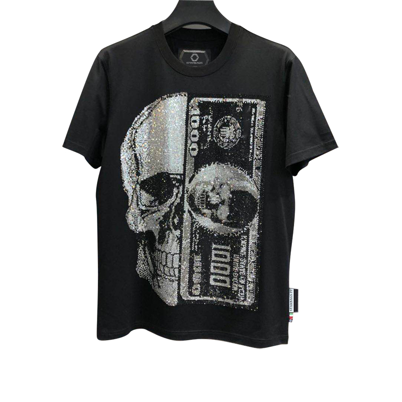 star bag PP Skull $100 high end craft color diamond cotton round neck short sleeve men's T-shirt original quality 2020 new style