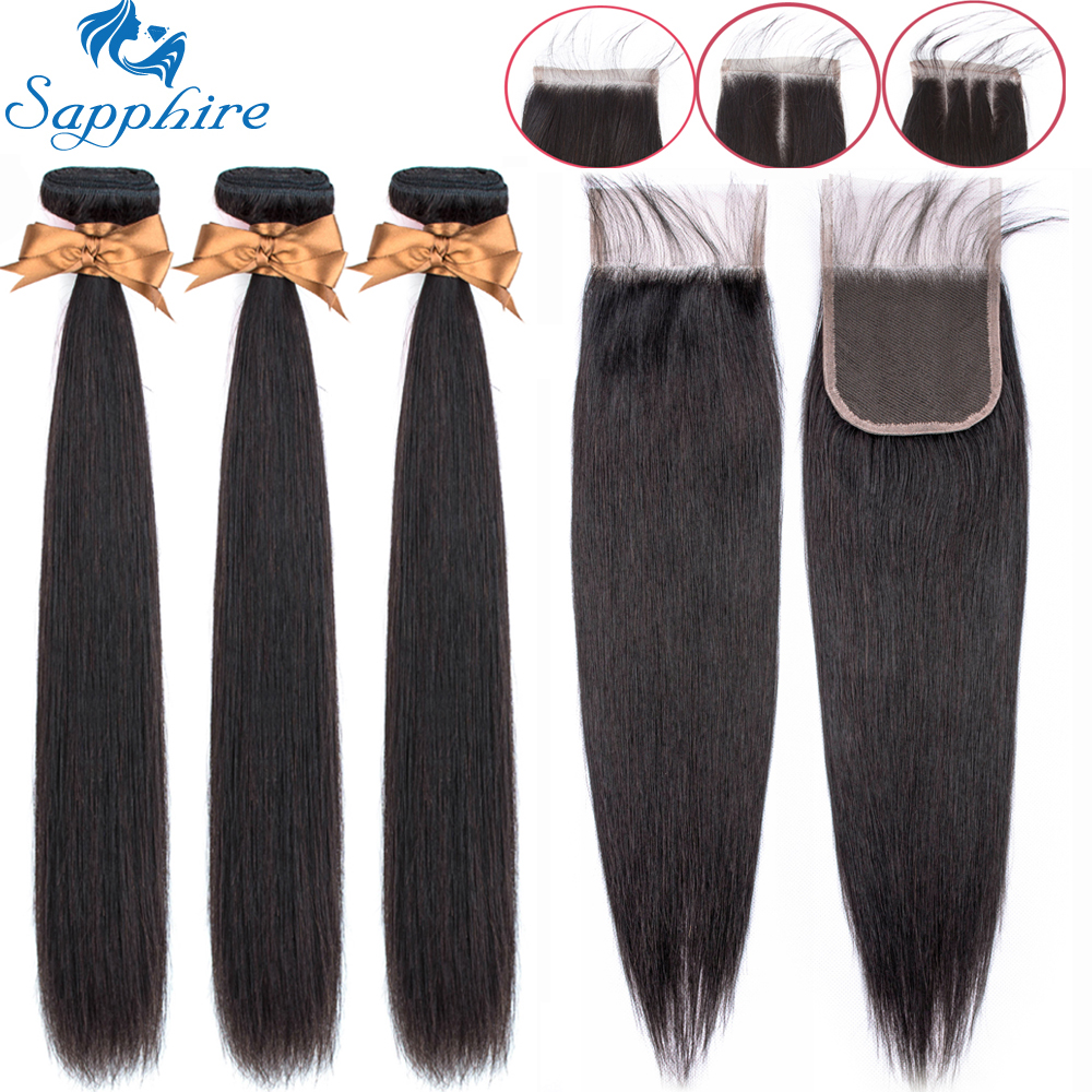 Sapphire Straight Bundles With Closure Brazilian Hair Weave Bundles With Closure Human Hair Bundles With Closure Hair Extension-in 3/4 Bundles with Closure from Hair Extensions & Wigs
