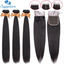 Sapphire Straight Bundles With Closure Brazilian Hair Weave Bundles With Closure Human Hair Bundles With Closure Hair Extension(China)
