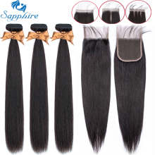 Sapphire Straight-Bundles Closure Hair-Extension Brazilian-Hair with Weave