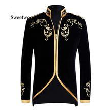 British Style Palace Prince Fashion Black Velvet Gold Embroi