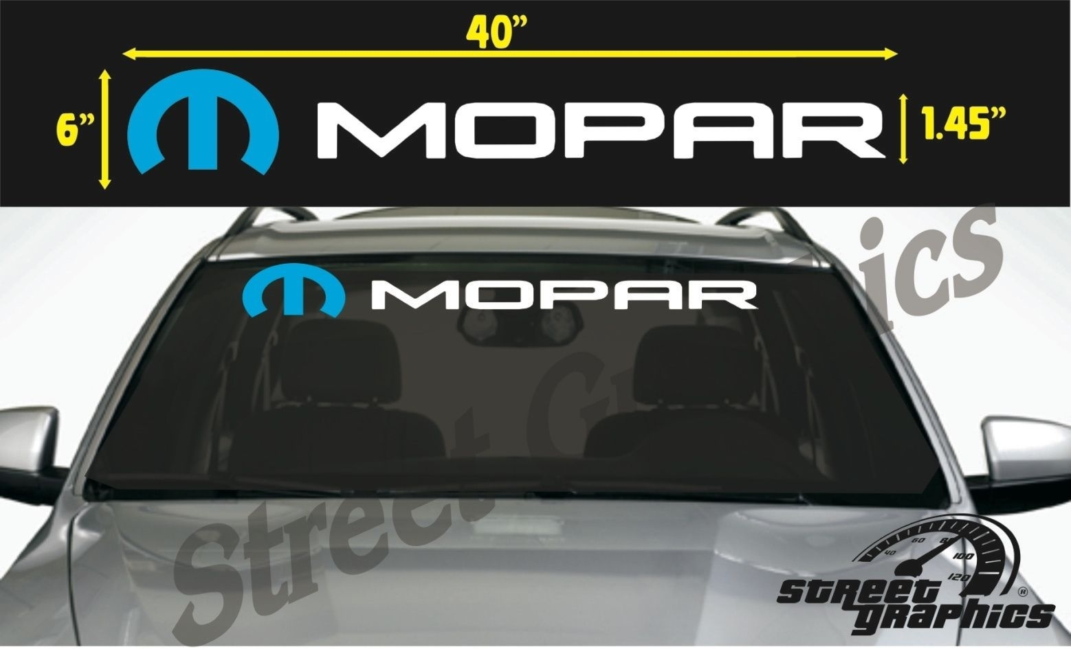 MOPAR Vinyl Decals One Pair JEEP DODGE RAM CHARGER CHALLENGER Free Shipping