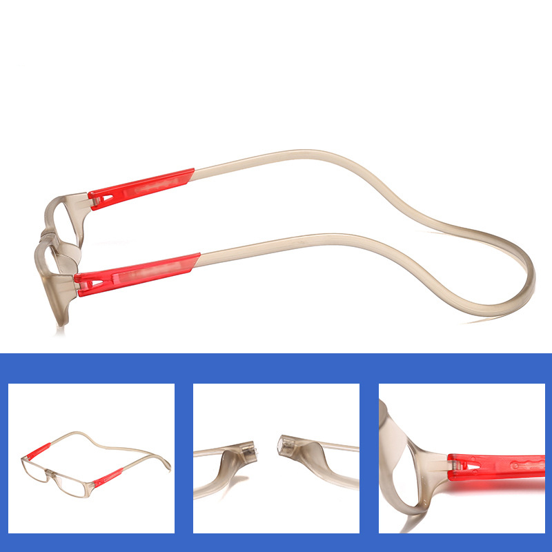 Arvin Hanging neck Buckle Reading <font><b>Glasses</b></font> Folding Presbyopic Men Women Soft Silicone Magnetic Vintage Eyeglasses <font><b>1.0</b></font> 1.5 2.0 image