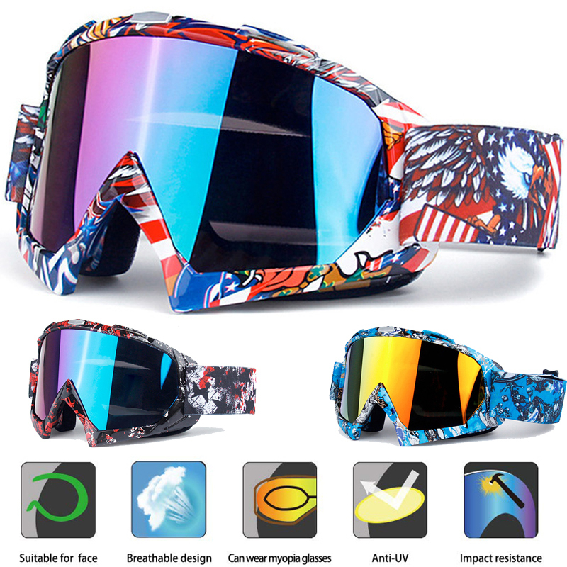 Motocross Motorcycle Goggles with Anti-Fog /& Anti-Scratch Gray Lens Adjustable Blue Non-Slip Windproof /& Dustproof ATV Racing Goggles GRM Dirt Bike Goggles