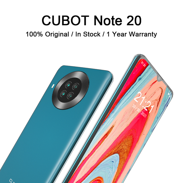 CUBOT Note 20 Mobile Phone  6.5″ HD Display 4200mAh Battery NFC Smart Phones Android 10.0 Rear Quad Camera Cellphones 64gb Rom