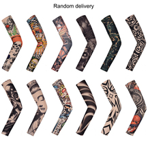 Random Color Arm Warmers Fake Tattoo Seamless Sleeves Nylon UV Sun Protection Outdoor Cycling Sports Safety 2019 New