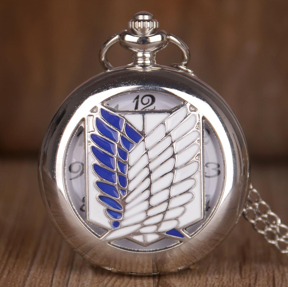 Unique Design Pocket Watches Silver Attack on Titan Wings of Liberty Clamshell Quartz Pocket Watch Gifts For Men Women